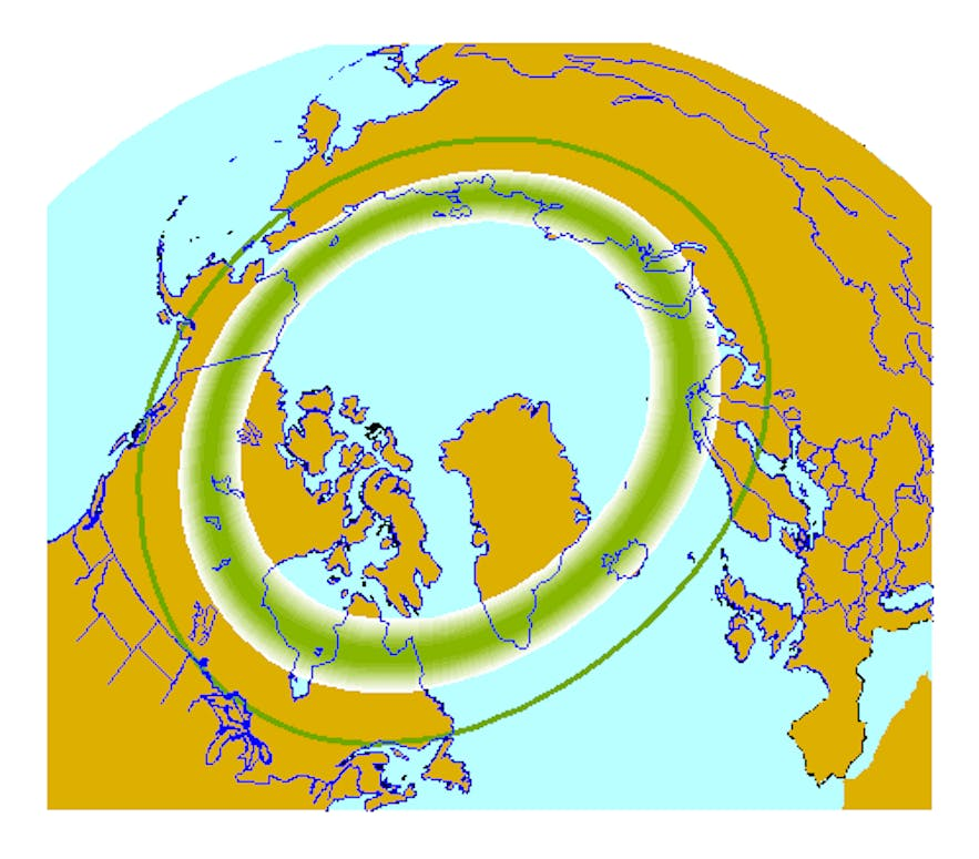 The Northern Lights belt, courtesy of the Alaska Geophysical Institute.