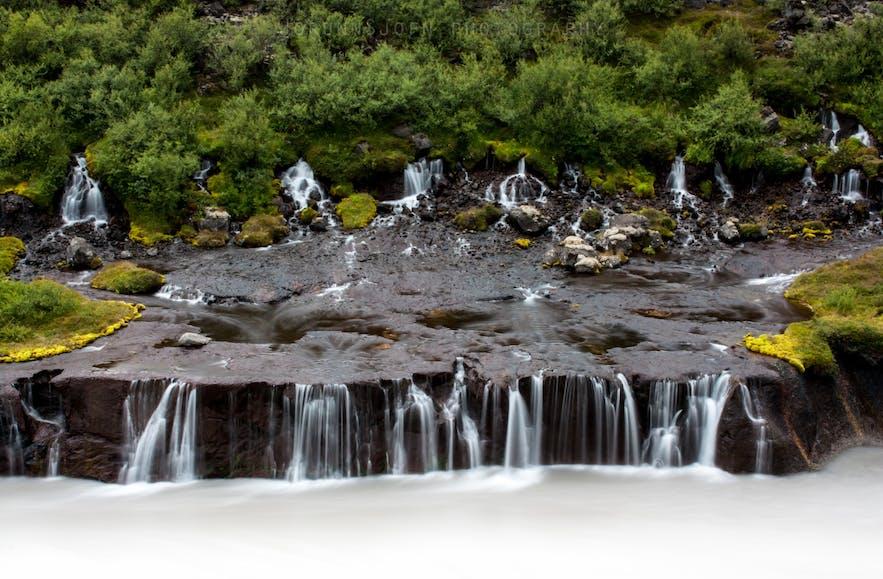 The cascades of Hraunfossar waterfalls