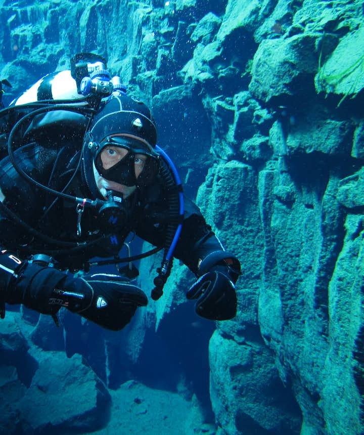 Dry suit diving in Iceland