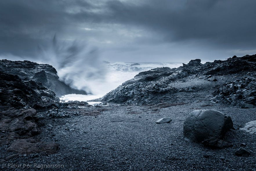 The sea crashing on the beach, Iceland in winter