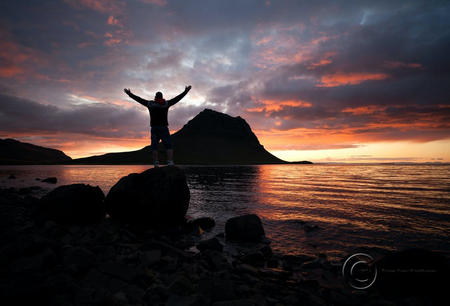 Embracing the sunset on Kirkjufell mountain