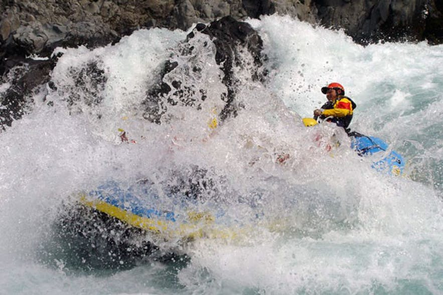 Extreme river rafting in Iceland