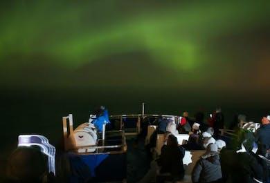 Observation d'aurores boréales à bord d'un bateau