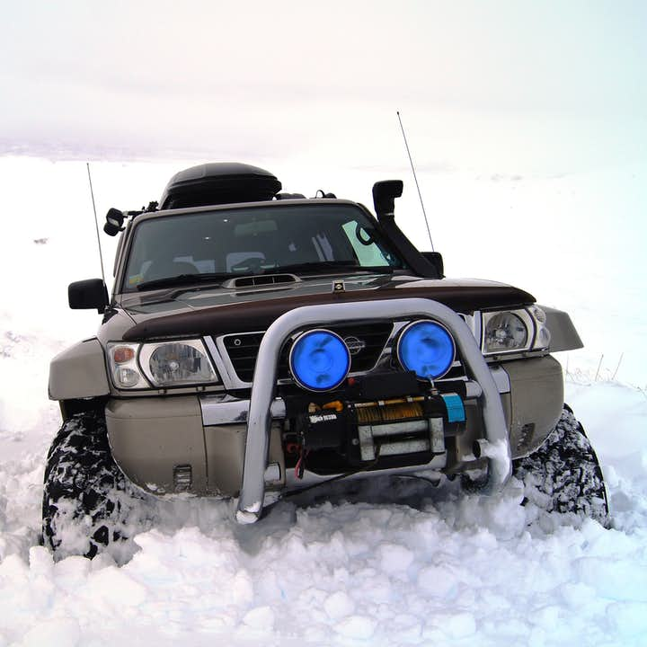 The snow-covered landscapes of north Iceland around Mývatn are only accessible in winter with a Super Jeep.