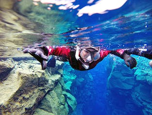 Drysuit Snorkeling in Silfra with Underwater Photos | Transfer included width=