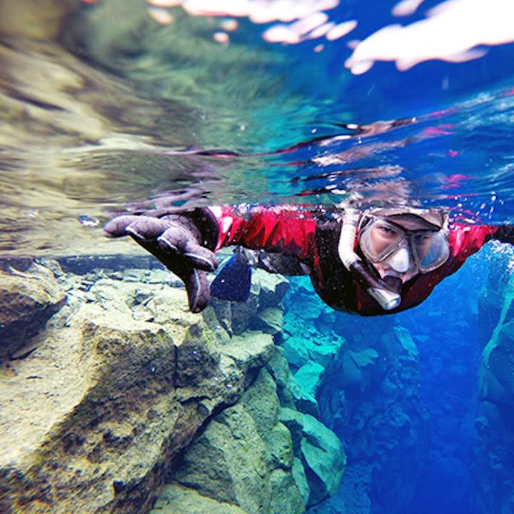 Tørdragtsnorkling i Silfra med undervandsbilleder | Transfer inkluderet