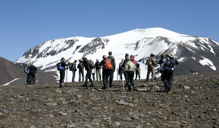 A group of people getting ready to hike mount Snæfell