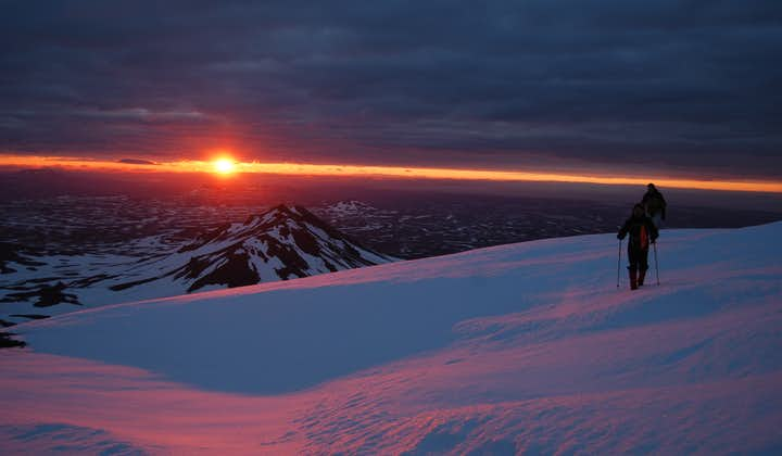 A marvellous view of the midnight sun over east Iceland from Mount Snæfell.