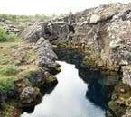 Þingvellir National Park is littered with ravines as it is directly between the two tectonic plates that are pulling Iceland apart.