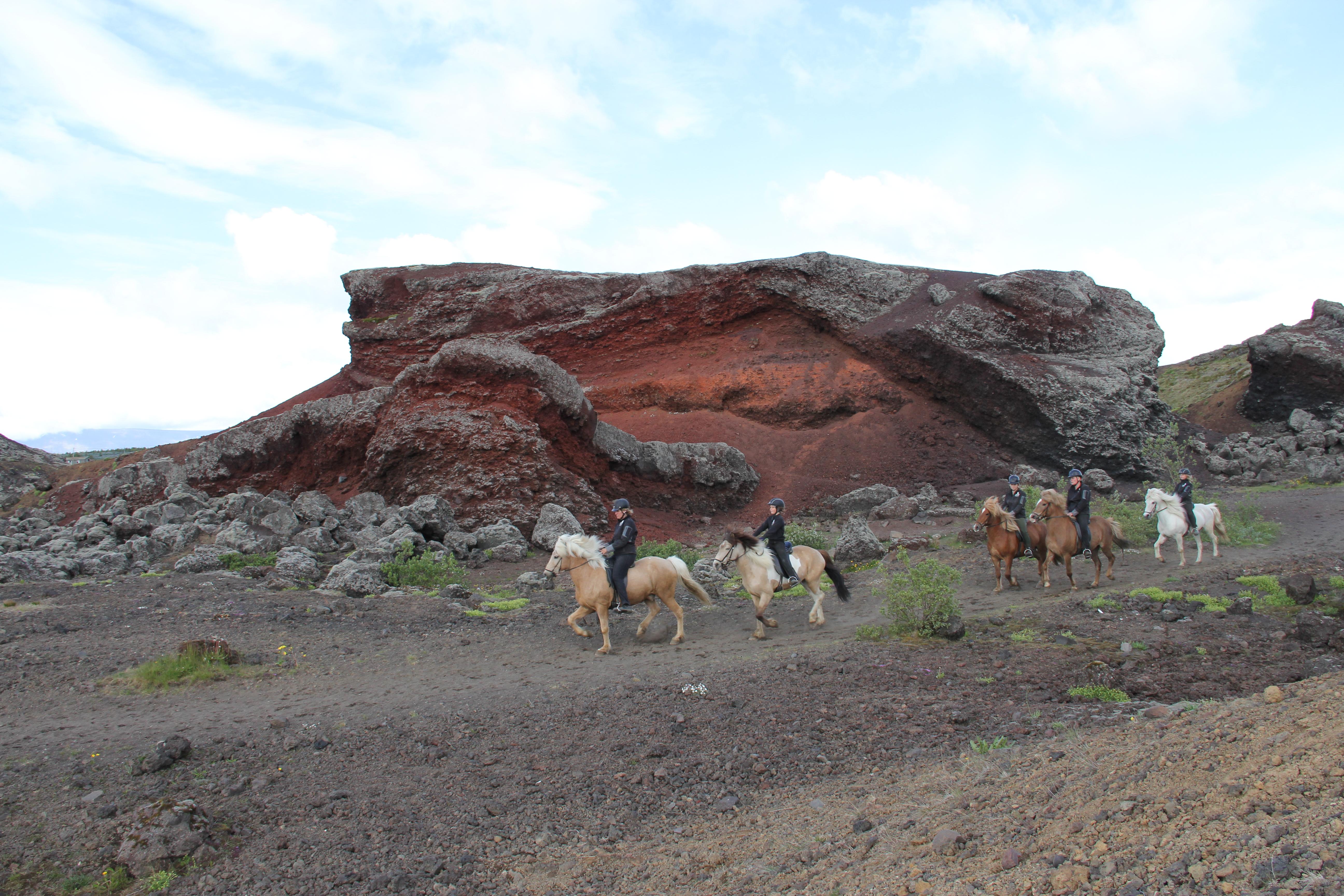 Il tour a cavallo del paesaggio vulcanico ti porta attraverso paesaggi lunari ultraterreni appena fuori Reykjavík.