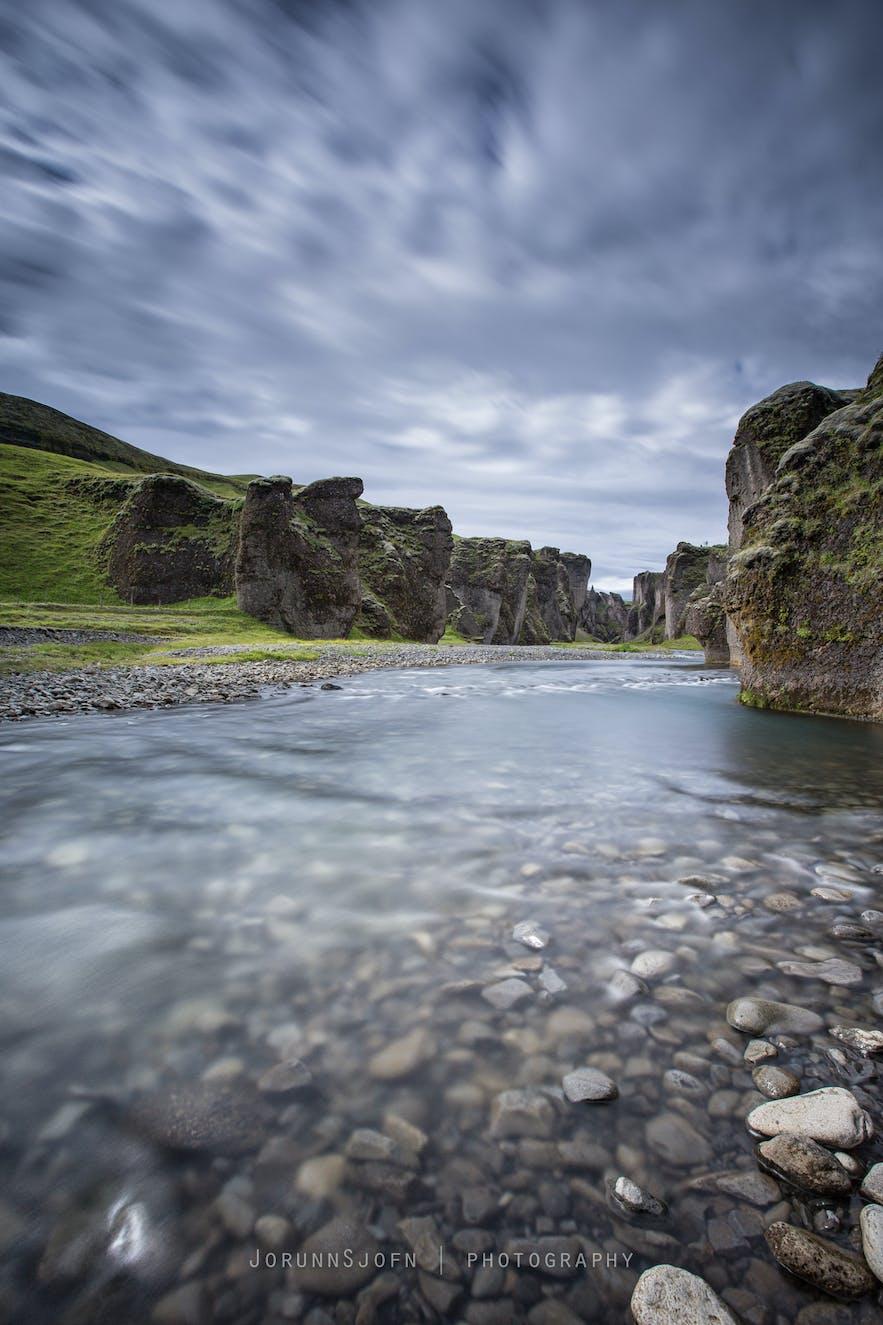 Fjaðrá river in Fjaðrárgljúfur canyon