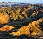 An aerial view over the rhyolite mountains of Landmannalaugar Nature Reserve reveal its proximity to the mighty Vatnajökull, the greatest glacier in Europe.
