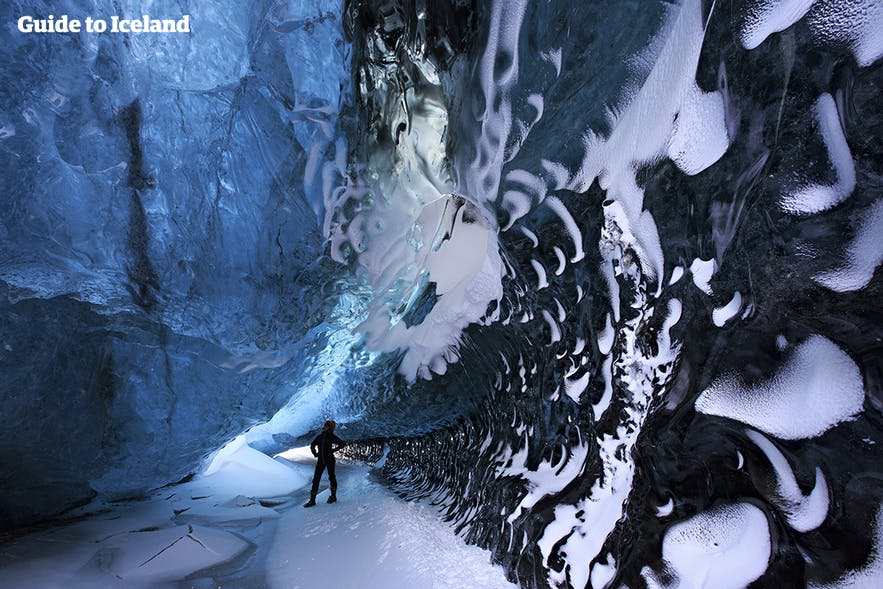 Inside an ice cave in south-east Iceland, on a tour only accessible in summer.
