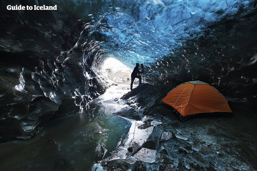 Inside an ice-cave in Iceland