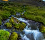 A luscious, verdant landscape of moss and grass is broken by a picturesque stream.