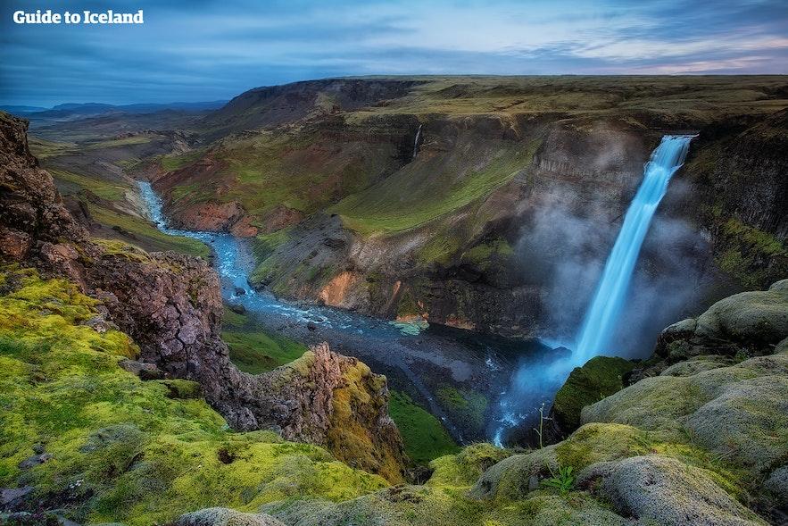 Háifoss-vandfaldet, der er Islands næsthøjeste