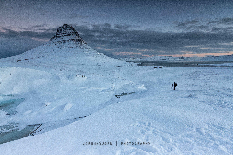 Winter snow on Kirkjufell Mountain