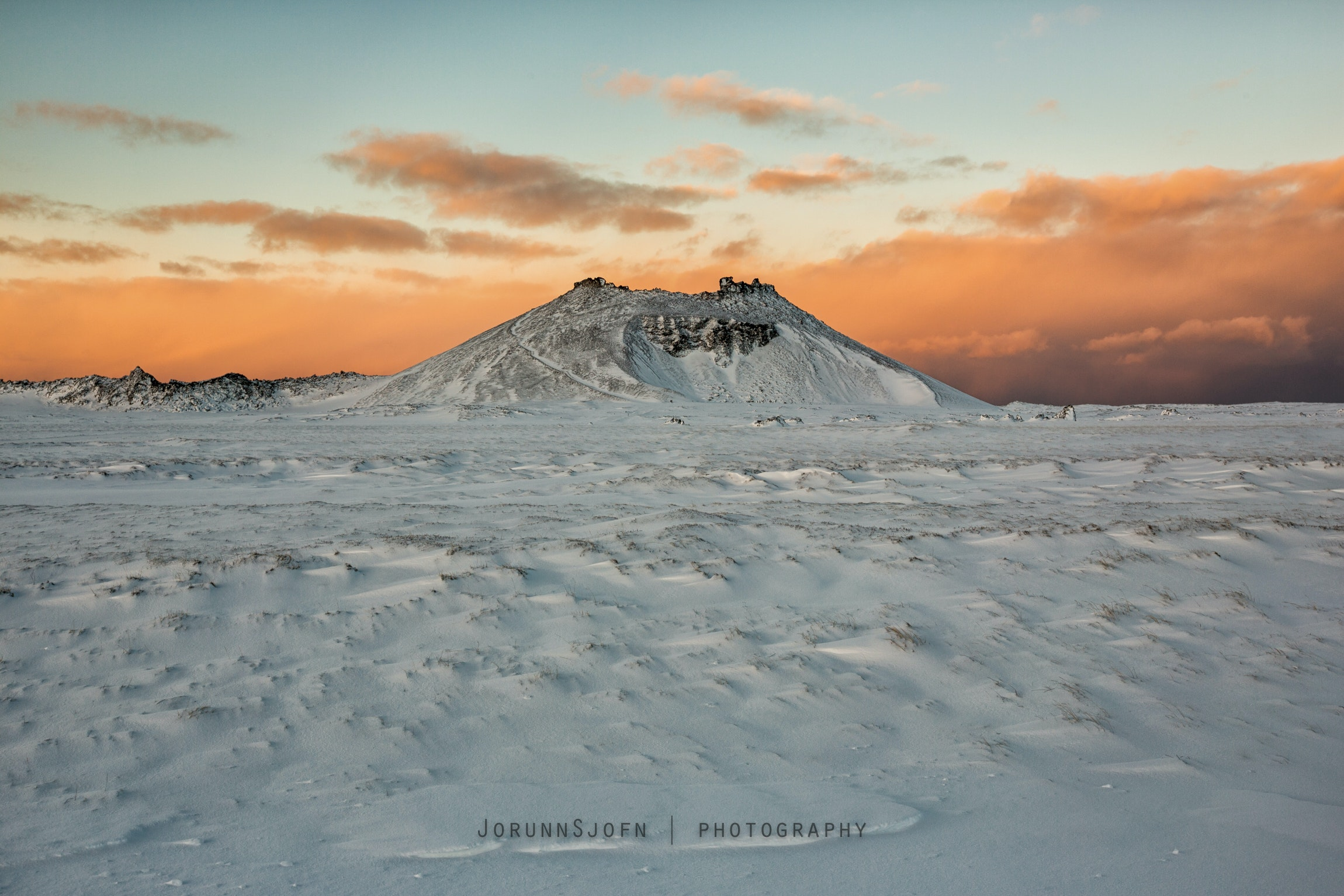 Snow on Grábrók Crater