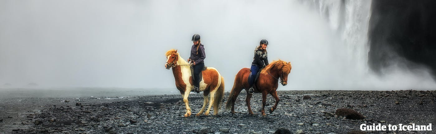 Horseback riding at Skógafoss