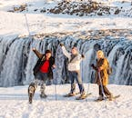 Enjoying the sights at Dettifoss waterfall.