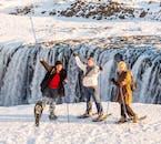 Enjoying the sights at Dettifoss waterfall.