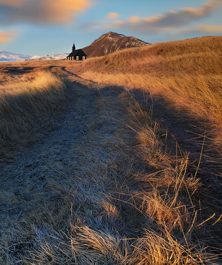 Lodowiec Snæfellsjökull widziany z oddali