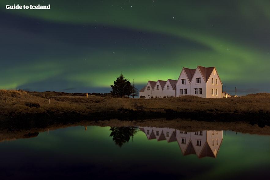 Nordlichter über Thingvellir in Island