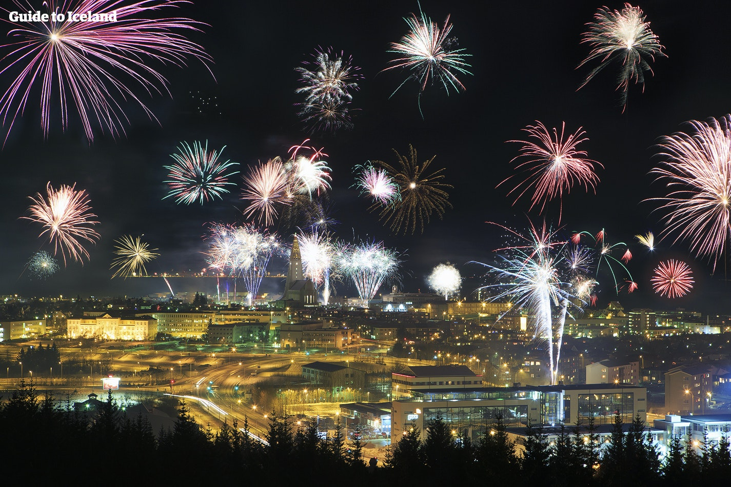 Reykjavík city during New Year's Eve