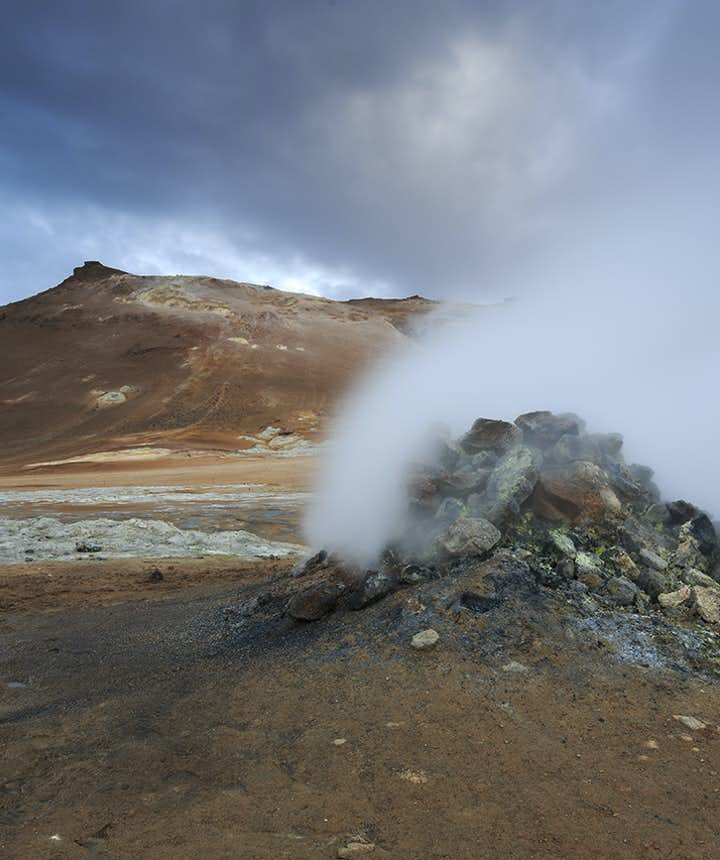 Steaming fumarole in the Námafell geothermal area.