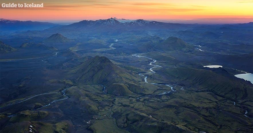 冰岛高地的俯瞰景色