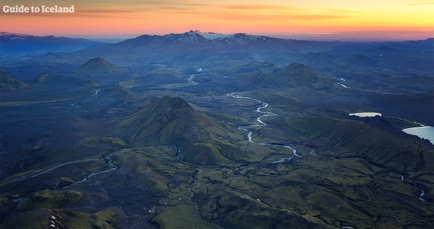 Aerial view over Iceland's highlands
