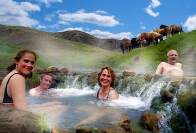 Balade à cheval et baignade dans la source chaude Reykjadalur