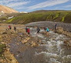 The adventurous Laugarvegur trek through the Highlands requires hikers to cross rivers.
