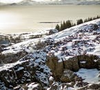A view over the lake of Þingvallavatn in winter, just south of Þingvellir National Park on the Golden Circle.