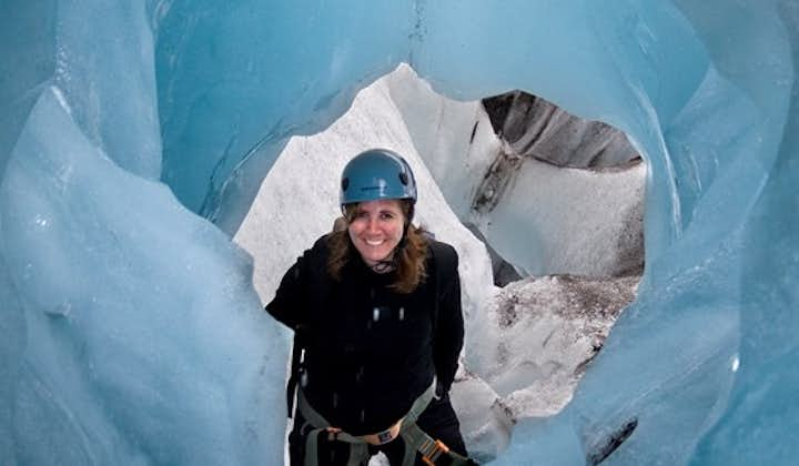 A naturally formed ice cave in Svínafellsjökull, in Skaftafell Nature Reserve.
