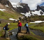 Trekking through the highlands of North East Iceland requires river crossings.