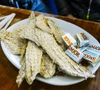 Dried fish is a standard Icelandic snack, eaten with generous scoops of butter.