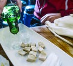 Fermented shark, or hakarl, is an Icelandic delicacy, and the palette is traditionally cleansed with the national spirit, Brennivín..