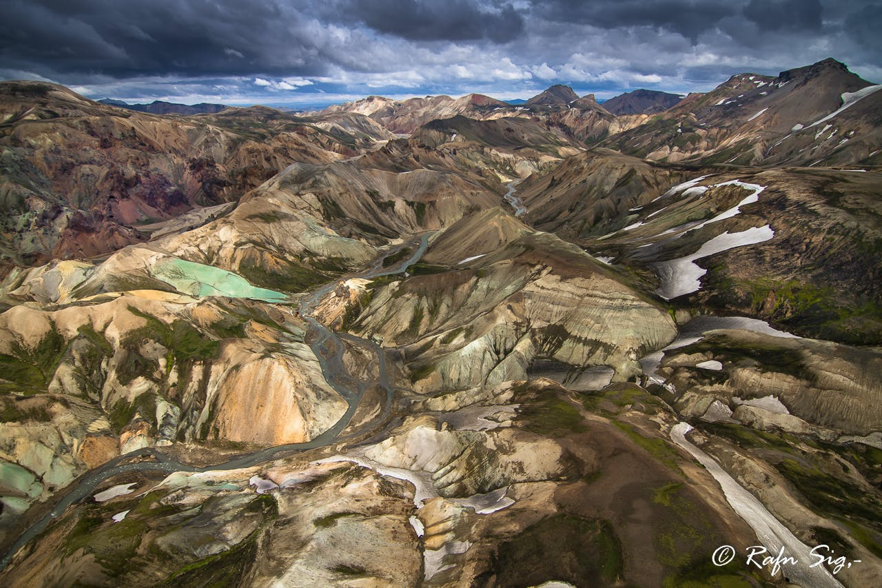 Looking out over the kaleidoscopic hills of Landmannalaugar, found in the Central Highlands.