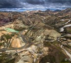 Looking out over the kaleidoscopic hills of Landmannalaugar, found in the central Highlands of Iceland.