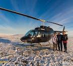 Atterrissage de l'hélicoptère sur une montagne