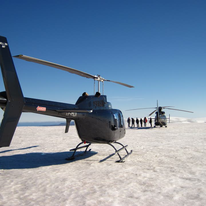 Why go glacier hiking when you could simply arrive by helicopter?