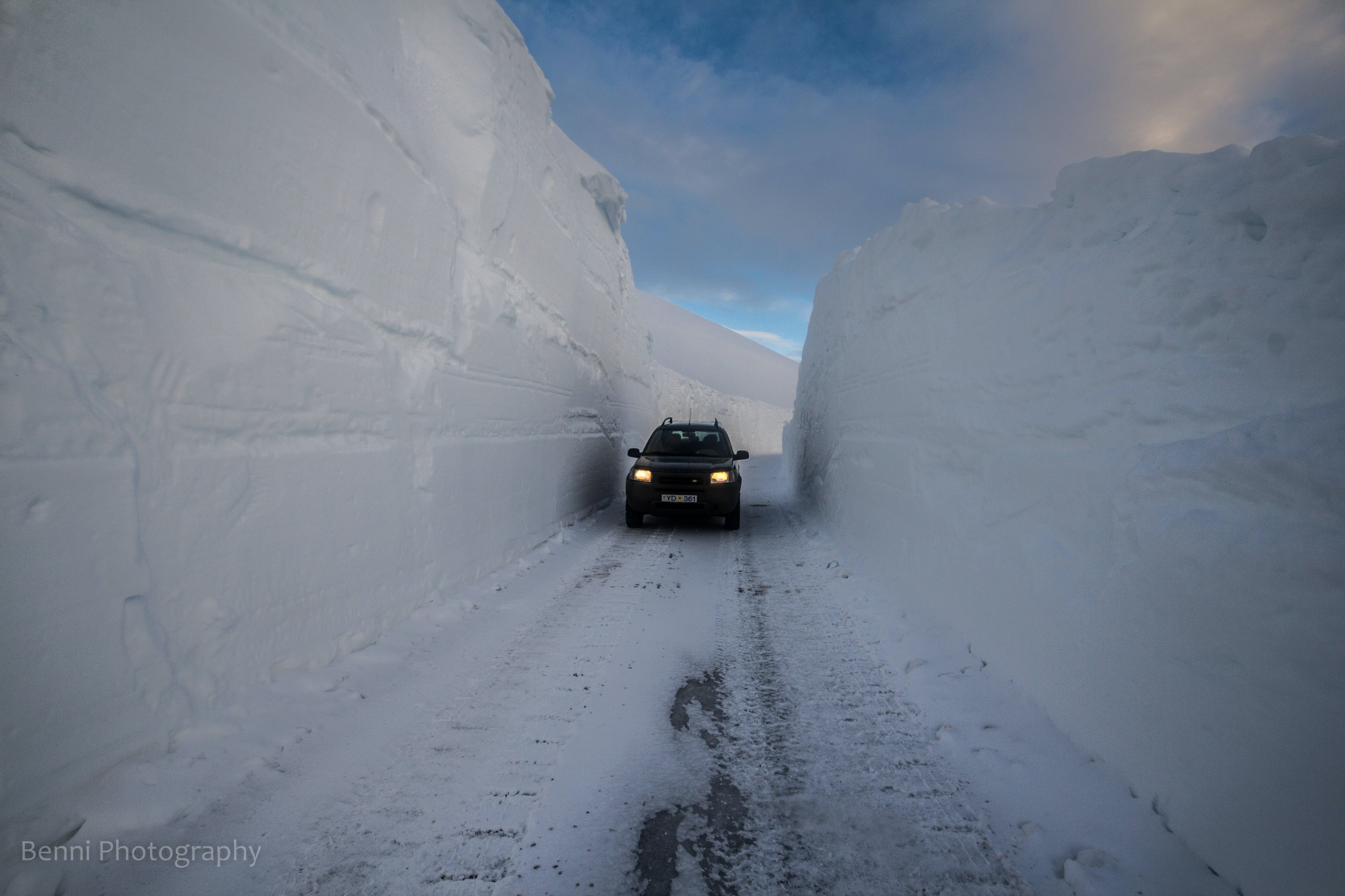 Snow drifts in winter, Westfjords, Iceland
