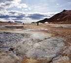 Námaskarð pass is a geothermal wonder of boiling sulphuric mud springs and steam vents by Lake Mývatn.