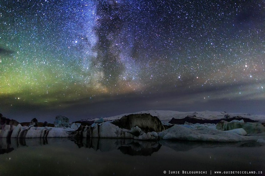 Northern lights and milky way by Jökulsárlón glacier lagoon