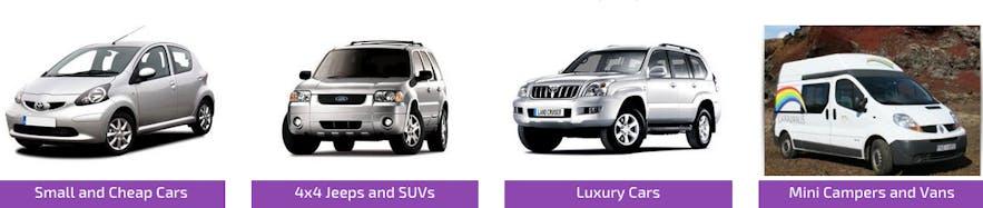 catégories voitures de location en Islande