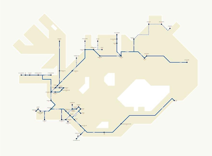 Eine Karte des öffentlichen Nahverkehrs in Island