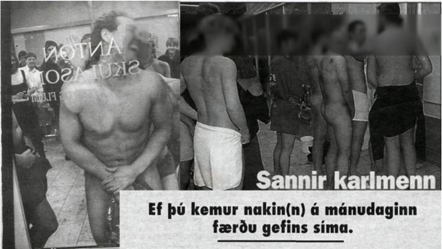 A newspaper article from 1995 showing naked men