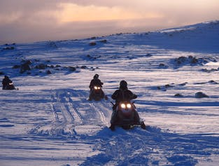 Snowmobile Tour on Myrdalsjokull Glacier | South Iceland width=