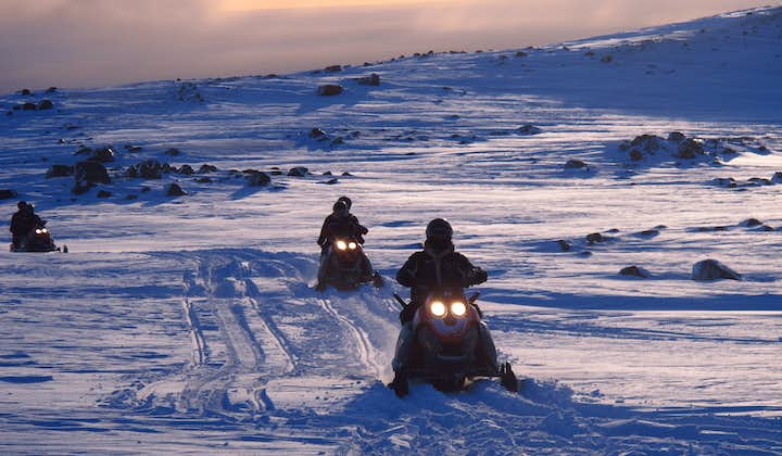 From your position on the snowmobile, you will have 360 degree views of Mýrdalsjökull Glacier.